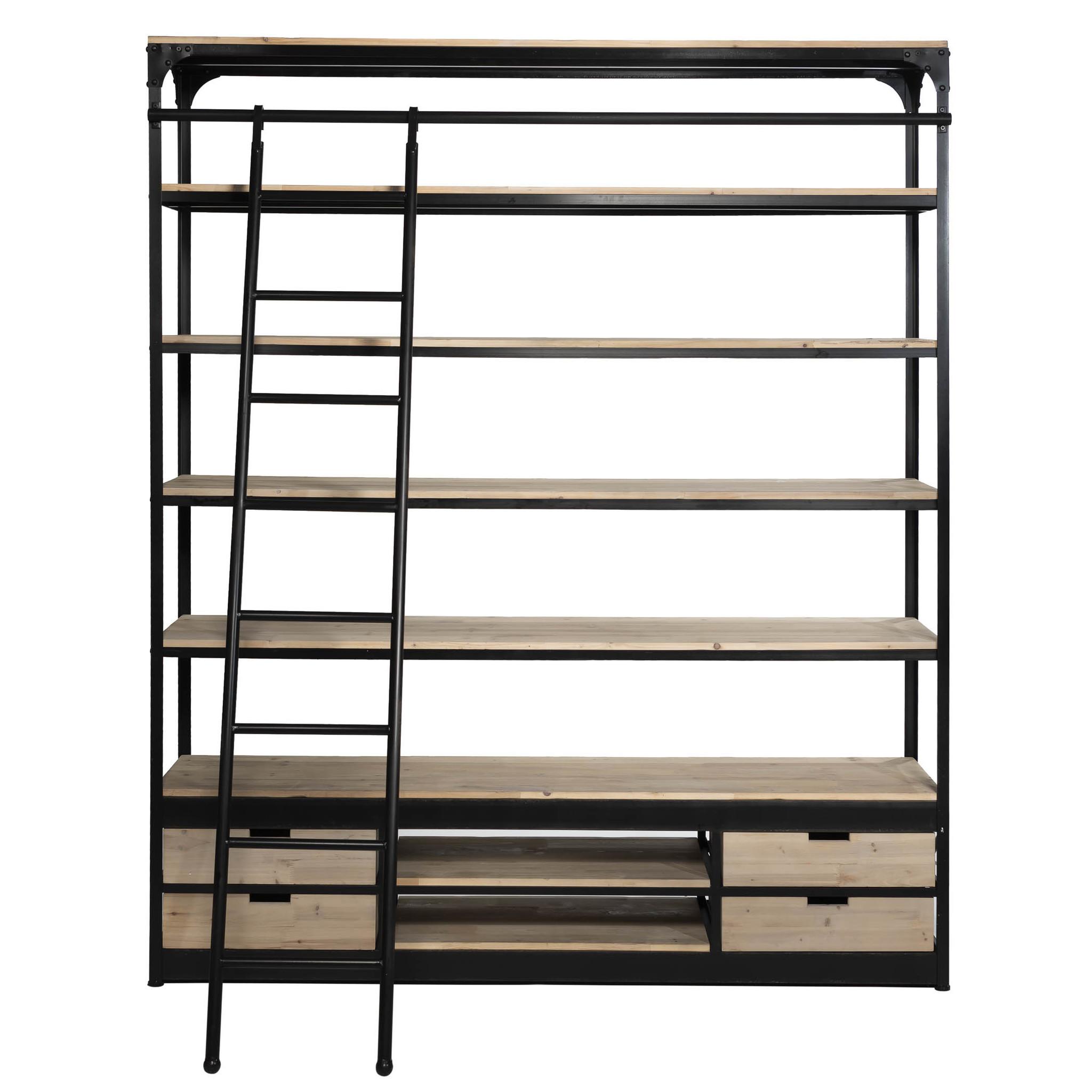 Rootsmann Industri�le boekenkast met ladder | White wash